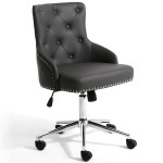 Office Chairs - Rocco Luxury Grey Leather Effect Office Chair 096-14-01-10-01 by Shankar