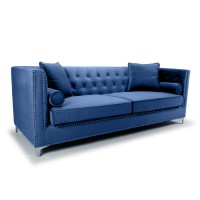 Sofas - Shankar Dorchester Ocean Blue Brushed Velvet 4 Seater Sofa 805-09-32-10-01