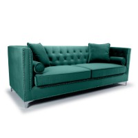 Sofas - Shankar Dorchester Green Brushed Velvet 4 Seater Sofa 805-09-40-10-01