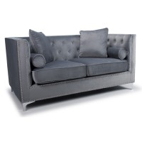 Sofas - Shankar Dorchester Grey Brushed Velvet 2 Seater Sofa 806-09-03-10-01