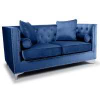 Sofas - Shankar Dorchester Ocean Blue Brushed Velvet 2 Seater Sofa 806-09-32-10-01