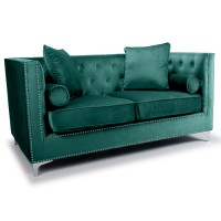 Sofas - Shankar Dorchester Green Brushed Velvet 2 Seater Sofa 806-09-40-10-01