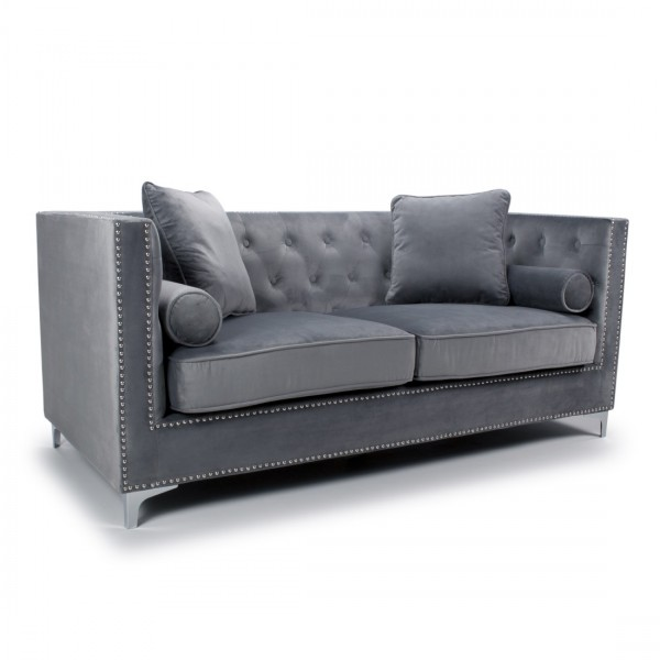 Sofas - Shankar Dorchester Grey Brushed Velvet 3 Seater Sofa 807-09-03-10-01