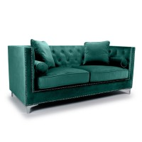 Sofas - Shankar Dorchester Green Brushed Velvet 3 Seater Sofa 807-09-40-10-01