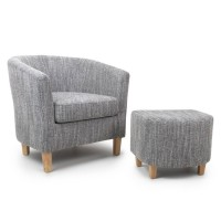 Armchair - Shankar Grey Tweed Tub Chair and Stool Set 057-03-41-05-01