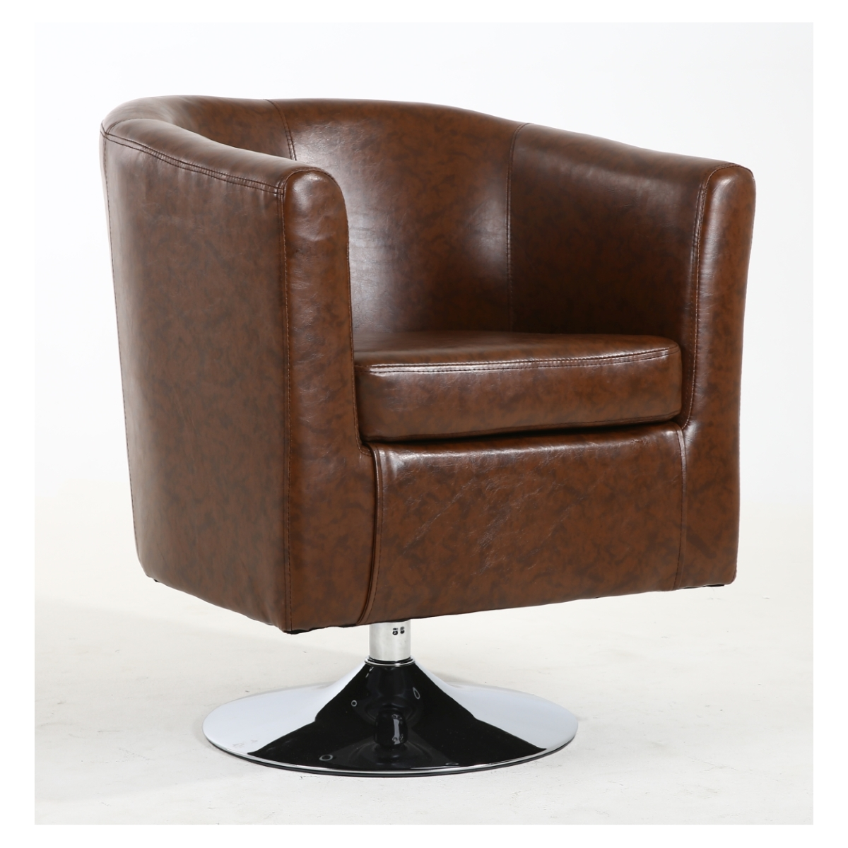 Ordinaire Tub Chairs   Shankar Swivel Base Tub Chair In Antique Brown Leather