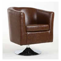 Tub Chairs - Shankar Swivel Tub Chair in Antique Brown Leather 013-11-01-10-01