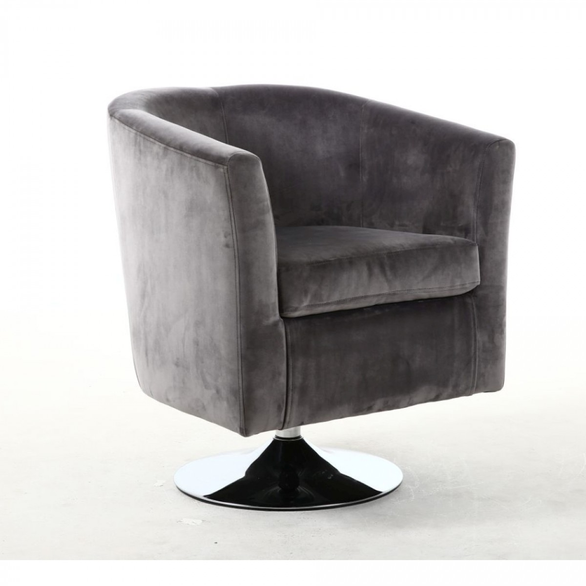 Tub Chairs   Shankar Swivel Base Tub Chair In Brushed Velvet Grey