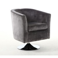 Tub Chairs - Shankar Swivel Tub Chair in Brushed Velvet Grey 013-09-03-10-01