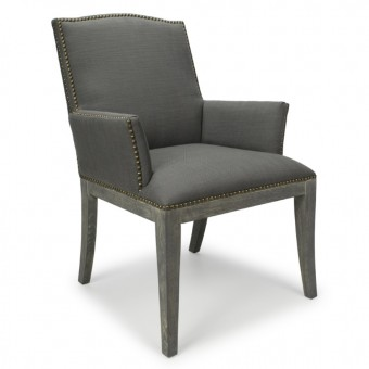 Burford Grey Square Stud Accent Chair 015-10-07-13-03 by Shankar