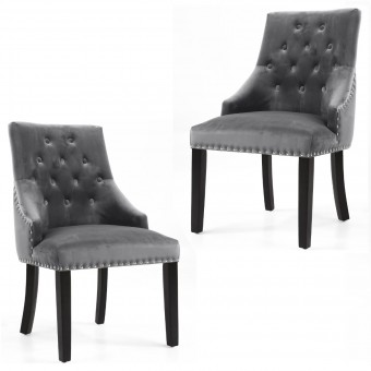 Pair of Accent Chair Grey Brushed Velvet Camberwell 049-09-03-01-01 by Shankar