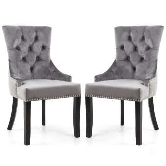 Dining Chair Pair of Grey Brushed Velvet Chester Accent Chairs 088-09-03-CC by Shankar