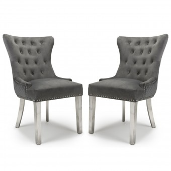 Accent Chair Pair of Grey Brushed Velvet Lionhead 113-09-03-CC by Shankar