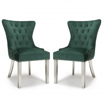 Accent Chair Pair of Green Brushed Velvet Lionhead 113-09-40-CC by Shankar