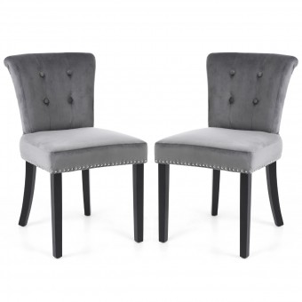 Dining Chair Pair of Sandringham Lionhead Grey Brushed Velvet Accent Chairs 126-09-03-01-01