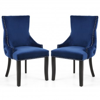 Accent Chair Pair of Blue Brushed Velvet Winslow 098-09-32-CC by Shankar