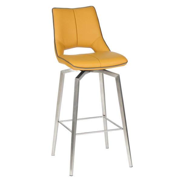 Barstools - Mako Swivel Yellow Faux Leather Bar Chair 040-14-03-12-03 by Shankar