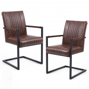 Pair of Dining Chairs Brown Leather Match Archer 105-14-53-29-01 by Shankar
