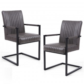 Pair of Dining Chairs Grey Leather Match Archer 105-14-54-29-01 by Shankar