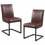 Pair of Dining Chairs Brown Leather Match Archer 106-14-53-29-01 by Shankar