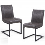Pair of Dining Chairs Grey Leather Match Archer 106-14-54-29-01 by Shankar
