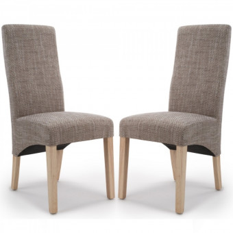 Dining Chair - Pair of Shankar Baxter Oatmeal Tweed Dining Chairs 084-03-11-05-03 BAXT-TWED
