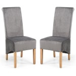 Dining Chair - Pair of Shankar Krista Brushed Velvet Grey Dining Chairs 001-09-03-05-03