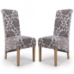 Dining Chair - Pair of Shankar Krista Baroque Dining Chairs in Mink 001-34-02-05-03