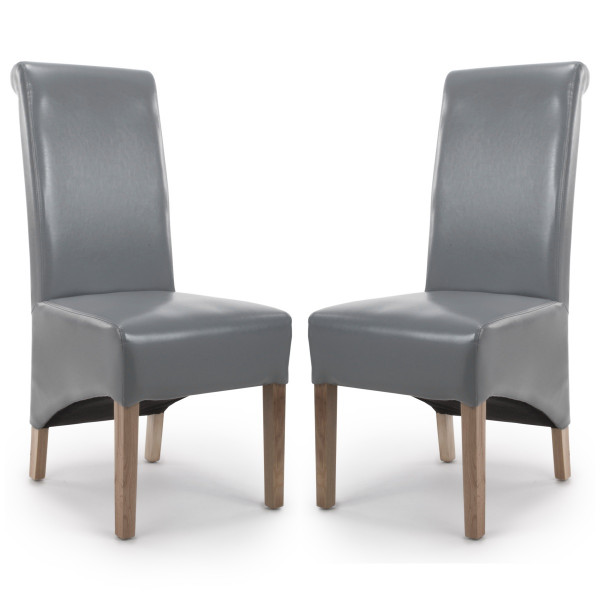 Dining Chair - Pair of Shankar Krista Grey Bonded Leather Dining Chairs 001-35-02-05-03