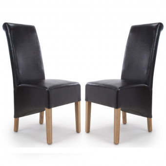 Dining Chair - Pair of Shankar Krista Black Bonded Leather Dining Chairs 001-35-04-05-03