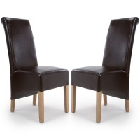 Dining Chair - Pair of Shankar Krista Brown Bonded Leather Dining Chairs 001-35-12-05-03