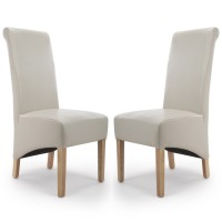 Dining Chair - Pair of Shankar Krista Ivory Bonded Leather Dining Chairs 001-35-13-05-03