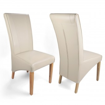 Pair of Dining Chairs Ivory Bonded Leather Marseille Wide Back 005-07-13-05-03