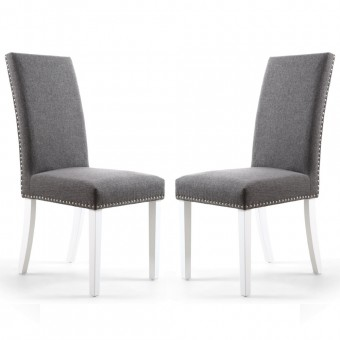 Pair of Dining Chairs Grey Fabric Randall 006-05-06-04-01 by Shankar