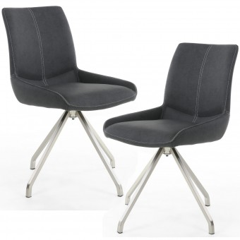 Dining Chair - Pair of Shankar Spindle Grey Dining Chairs 068-14-19-10-01