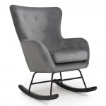 Rocking Chair Grey Brushed Velvet Alpine 145-09-03-01-01 by Shankar