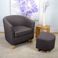 Armchairs - Shankar Linen Look Tub Chair and Stool 057-06-26-05-01