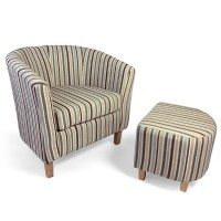 Armchairs - Shankar Stripe Tub Chair and Stool Set 057-04-11-05-01