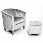 Armchairs - Shankar Silver Crushed Velvet Tub Chair Set 057-22-19-05-01
