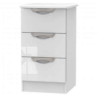 Bedside Table with Optional Wireless Charging 3 Drawer in White CAM001WGW