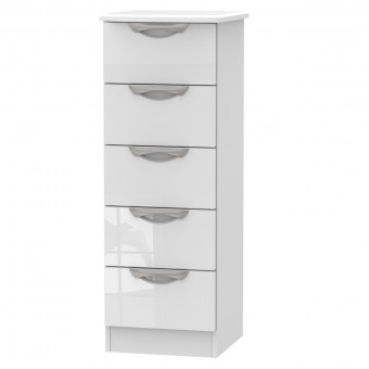 Bedroom Chest Camden 5 Drawer Locker in White CAM003WGW by Welcome Furniture