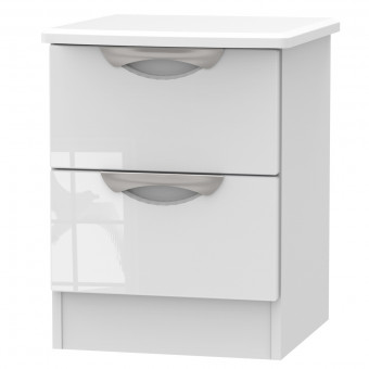 Bedside Table with Wireless Charging 2 Drawer in White CAM005WGW