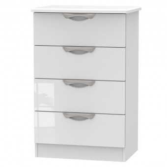 Midi Bedroom Chest 4 Drawer Camden in White CAM008WGW by Welcome Furniture