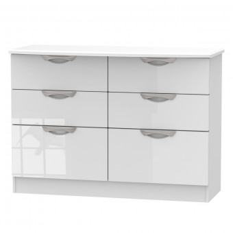 Midi Bedroom Chest 6 Drawer Camden White CAM015WGW by Welcome Furniture