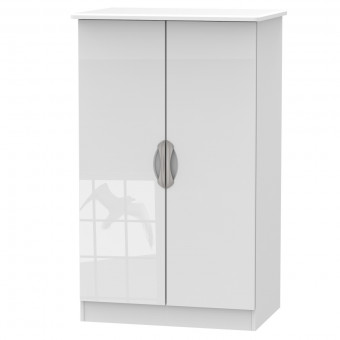 Assembled Midi Wardrobe 2 Door Camden White CAM058WGW by Welcome Furniture