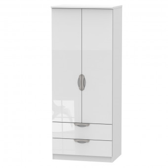 White Double Wardrobe with Drawers Camden CAM061WGW by Welcome Furniture