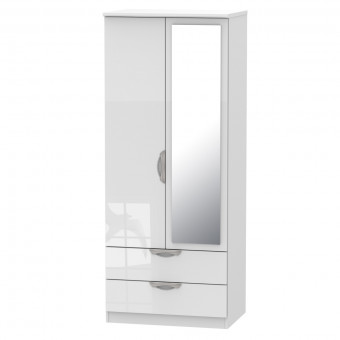 Mirror Wardrobe with Drawers Camden White CAM062WGW by Welcome Furniture