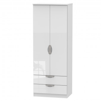 Tall Double Wardrobe with Drawers Camden White CAM081WGW by Welcome Furniture