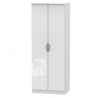 Double Hanging Wardrobe Camden White CAM085WGW by Welcome Furniture