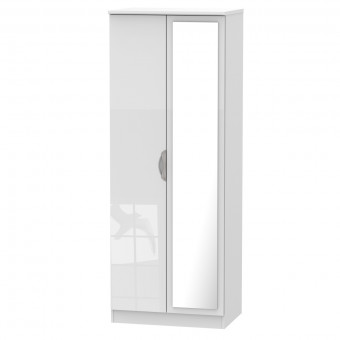 Tall Mirror Wardrobe 2 Door Camden White CAM087WGW by Welcome Furniture